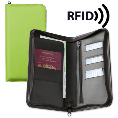 Deluxe Zipped Travel Wallet with RFID Protection - (printed with 1 colour(s)) 9228RFID_CC