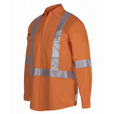 JBs Hi Vis (D+N) L/S 150G Cross Back Tape Shirt 6DCBL_JBS
