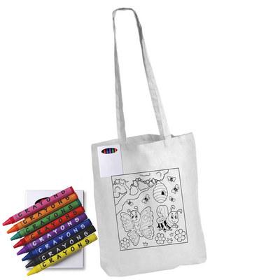 Colouring Long Handle Cotton Bag & Crayons LL5521_LL