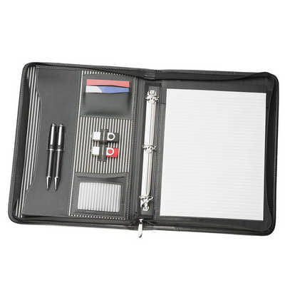 A4 Zippered Compendium with Removable 3 Ring Bind 9032BK_NOTT