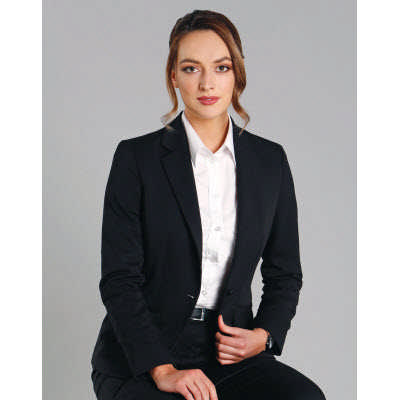 Ladies Wool Blend Stretch One Button Cropped Jacket M9201_WIN