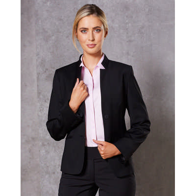 Ladies Wool Blend Stretch Reverse Lapel Jacket M9202_WIN