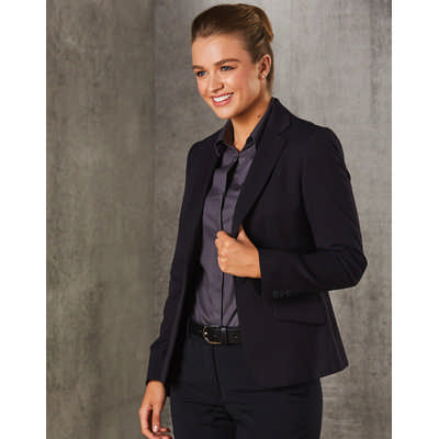 WomenS PolyViscose Stretch One Button Cropped Jacket M9205_WIN