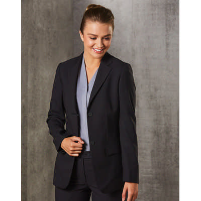 WomenS PolyViscose Stretch Two Buttons Mid Length Jacket M9206_WIN