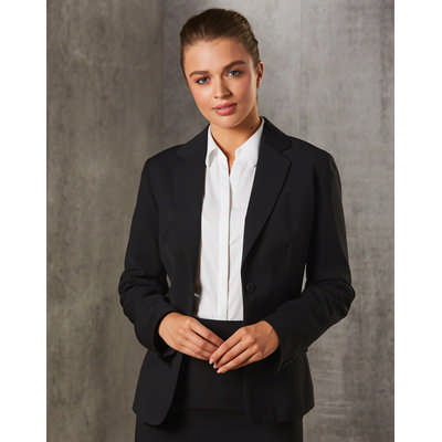 WomenS PolyViscose Stretch Stripe One Button Cropped Jacket M9208_WIN